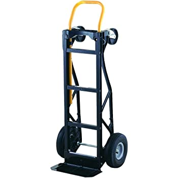 "Harper Trucks 700 lb Capacity Glass Filled Nylon Convertible Hand Truck and Dolly with 10"" Pneumatic Wheels"