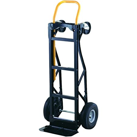 """Harper Trucks 700 lb Capacity Glass Filled Nylon Convertible Hand Truck and Dolly with 10"""" Pneumatic Wheels , Black with yellow handle - PGDYK1635PKD"""