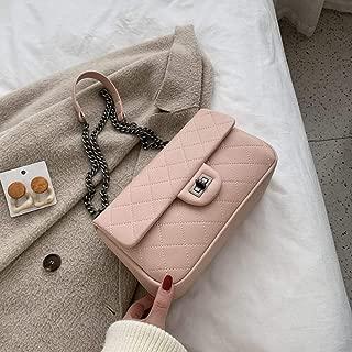 Trendy Generous Messenger bag female solid color chain bag casual atmosphere shoulder bag simple rhombus ladies bag,Colour:Black large (Color : Pink Queen)