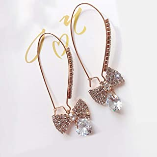 Girl Long Section Earrings Fashion Trend Style Ear Pendant Personalized Ear Ornaments Jinlyp (Color : Rose Gold)