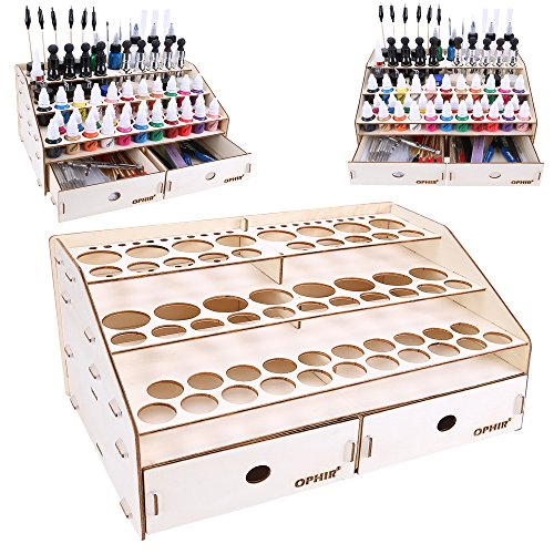 OPHIR Wooden Paint Rack Stand Pigment Ink Bottle Paints Tool Storage with Cabinet Holder Organizer...