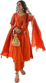 Style Amaze Women's Orange Cotton Silk Semi Stitched Salwar Suit with Tassel Dupatta