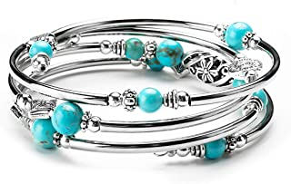 Vagalbox Layered Wrap Bangle Turquoise Bracelet Plated Adjustable Sterling Silver Fashion Bohemian Jewelry Multilayer Charm Bracelet for Women Girls Love and Fidelity