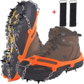 DBlosp Walk Traction Cleats Heavy Duty Trail Spikes Ice Snow Grips Anti Slip Stainless Steel Spikes Footwear Crampons Walking, Jogging Hiking on Snow & Ice (Orange Size:M/L)