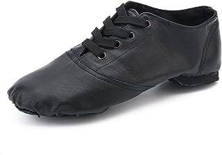 Cheapdancing 黑色皮革平底舞鞋练习爵士鞋