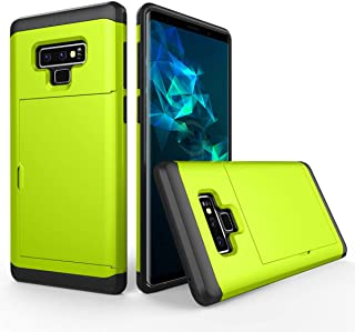 FastSun Samsung Galaxy Note 9 Case, Heavy Duty Shockproof Rubber Hybrid Rugged Hard Back Cover with ID Credit Card Slot Holder Case for Samsung Galaxy Note 9 (Neon Green)