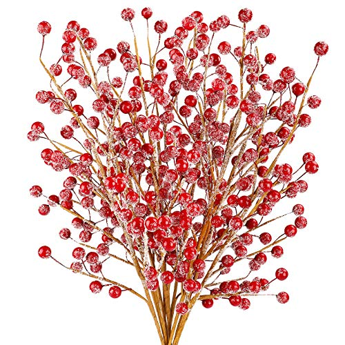 COCOBOO 10pcs Red Berry Stems Holly Christmas Berries with Fake Ice for DIY Crafts, Winter Christmas Home Party Decoration