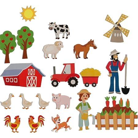 Farm Felt Set  Flannel Board Pieces  Felt Board  Animals   Pretend Play