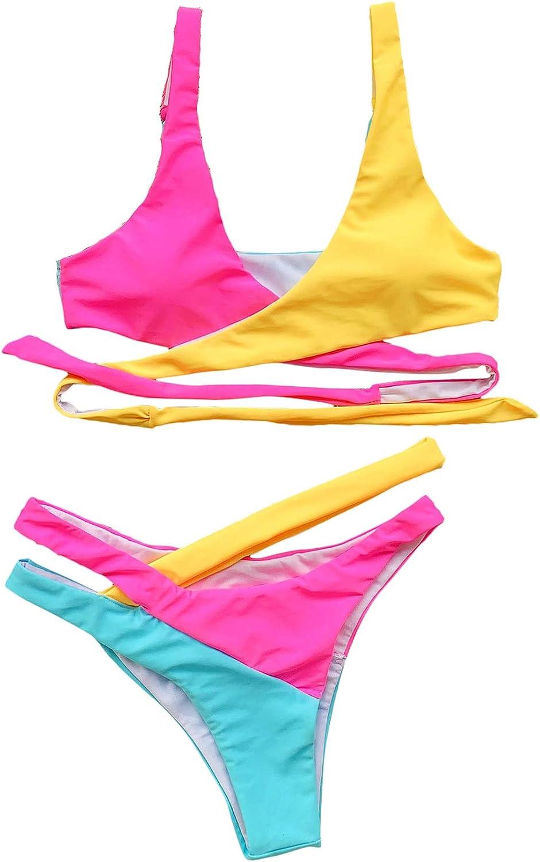 SOLY HUX Women's Criss Cross Wrap Tie Back Color Block Bikini Set 2 Piece Swimsuits