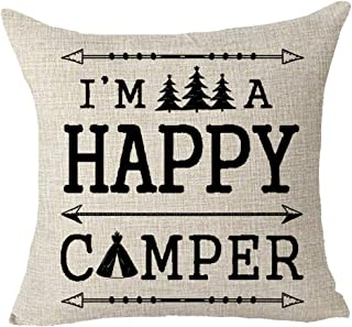 FELENIW I Am A Happy Camper Feather Arrow Pine Trees Throw Pillow Cover Cushion Case Cotton Linen Material Decorative 18x18 inches