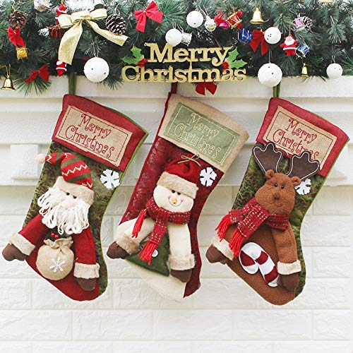Nwn Burlap Weihnachtsstrümpfe 3pc Sankt-Schneemann Deer Weihnachten Kamin Dekoration 46X23X27CM