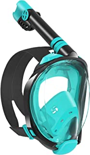 WSTOO Snorkel Mask with Latest Dry Top Breathing System,Fold 180 Degree Panoramic View Full Face Snorkel Mask Anti-Fog Ant...