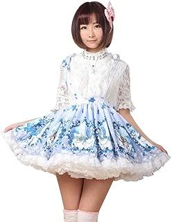 Blue Polyester Lace Pegasus Printed Lolita Suspender Skirt