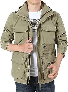 Landscap Men's Hooded Jackets Detachable Sleeve&Detachable Hood Coat Outdoor Plus Velvet Mountaineering Sportswear
