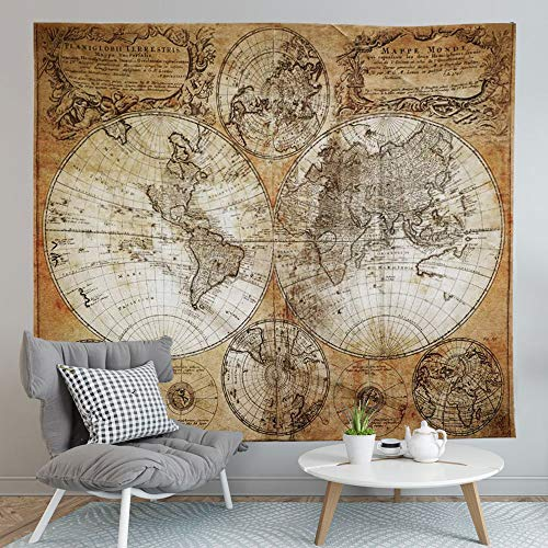 World Map Tapestry,Flymall Tapestry Wall Hanging for Wall Art Home Decor Bedspread Beach Towels Blanket Picnic Mat(59