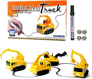Sportsvoutdoors Mini Inductive Excavator, 1 Piece Train Toy Running Along The Line Drawn by Magic Pen-Good, Halloween/Christmas, Great Gift for Kids & Children [Batteries Included]