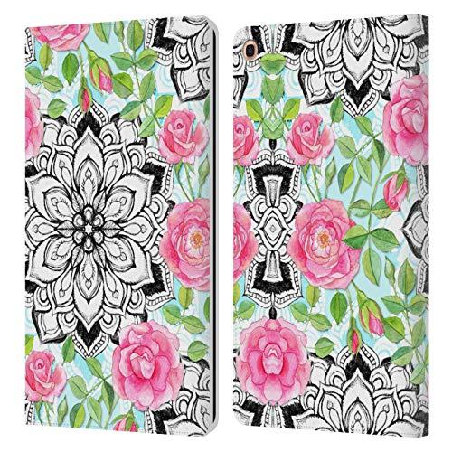 Head Case Designs Licenciado Oficialmente Micklyn Le Feuvre Rosas y Mandalas Patrones 6 Carcasa de Cuero Tipo Libro Compatible con Samsung Galaxy Tab A 10.1 2019