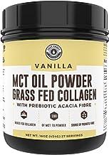 Keto MCT Powder + Collagen + Prebiotic Acacia Fibre, Vanilla, 16oz | MCT Creamer, Pure MCT Oil Powder from Coconuts. MCT C...