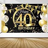 40 Geburtstag Dekoration Schwarz Gold, 40 Geburtstag Banner, 40 Geburtstag Party Dekor für Frau Mann, 40 Jahrestag Hintergrund Banner, Extra Große Stoff Schild Poster zum 40, Geburtstag Party Deko