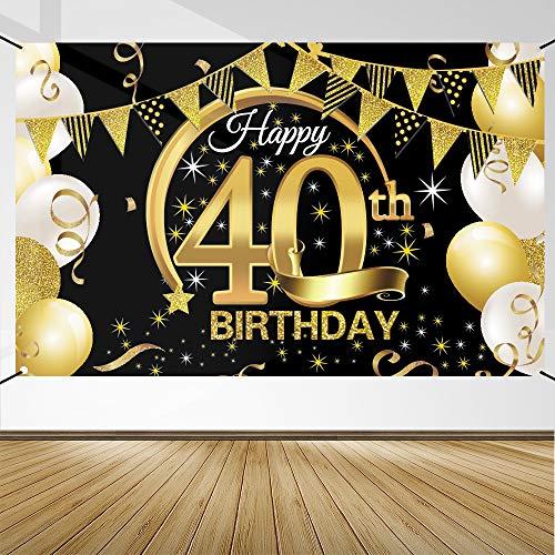 40 Anni Compleanno Festa Decorazioni Oro Nero, 40 Striscione di Compleanno, 40 Anni di Buon Compleanno Decorazione di Festa per Uomo Donna, Poster di Tessuto Sfondo Fotografico 40 Feste di Compleanno
