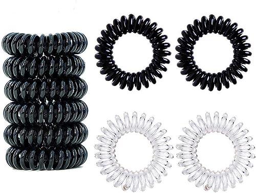 16 PCS Elastique à cheveux Accessoire de Coiffeur Bandeaux de queue de cheval, Transparent 8 pièces/Noir 8 pièces