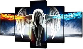 Fire and Ice Angel Wings of Contemporary Girl Abstract Canvas Wall Art Painting for Living Room Wall Art Picture Gift Home Decoration 5 Pieces Canvas Print printed Framed Ready to Hang (70