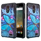 Galaxy Wireless] Compatible for ZTE Maven 3 Case/Overture 3 Case/Prelude Plus Case [Impact Resistant] Silicone Hybrid Dual Layer Protective Case Cover for ZTE Maven 3/Overture 3 Blue Butterfly