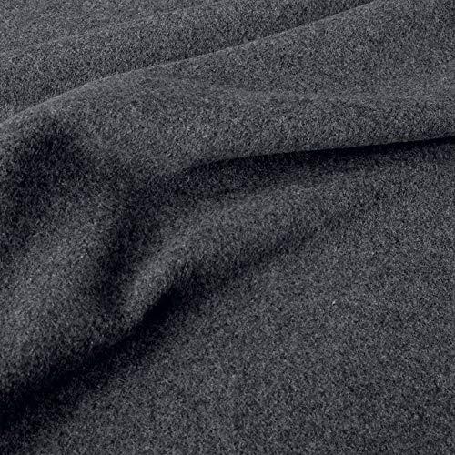 50cm TOLKO Kaschmir Winter Wollstoff/Mantelstoff   Flauschig weich warm   1,5mm dick   Schweres Wolltuch für Mantel Jacke Sakko   Meterware zum Nähen Dekorieren 150cm breit (Anthrazit Meliert)