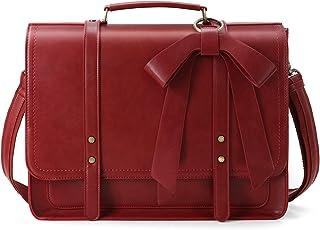 ECOSUSI Aktentasche Damen Laptoptasche 15,6 Zoll Vintage Umhängetasche mit Abnehmbarer Schleife Schultasche Rot