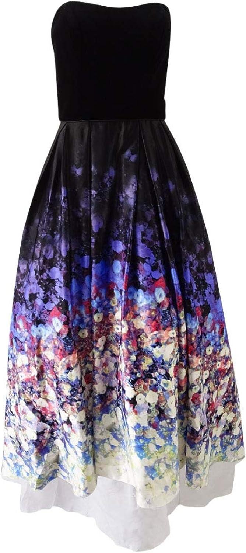 Betsy & Adam Womens Velvet Bodice High Low Evening Dress