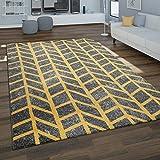 Paco Home Alfombra Salón, Motivo Geométrico Moderno En Tonos Grises Y Mostaza, tamaño:200x290 cm, Color:Gris