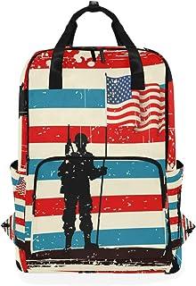 MONTOJ Mochila de Viaje American Soldier con Bandera Mochila Escolar