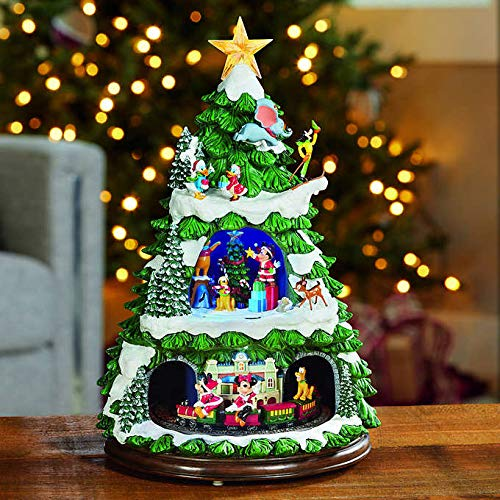 FCV Festive Disney Characters Animated Christmas Tree with Music for Indoor Christmas Holiday Decor