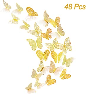 Creatiee 48Pcs Butterfly Decorations, 3D Wall Decals|Metallic Art Sticker, DIY/Handmade/ Removable/Pressure Resistance Paper Murals Gift for Home Kids/Girls Bedroom Nursey Party Décor (Gold Style)