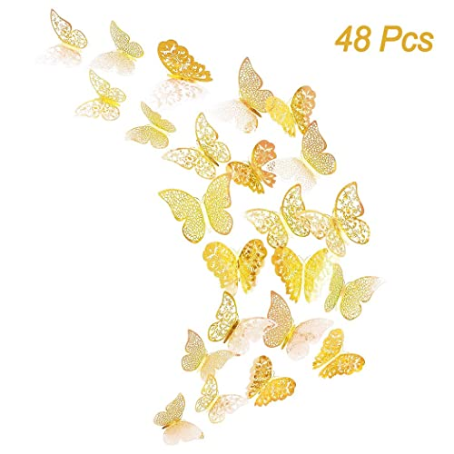 Creatiee 48Pcs Butterfly Decorations 3D Wall Decals