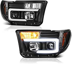 [For 2007-2013 Toyota Tundra & 2008-2017 Sequoia] OLED Neon Tube Black Projector Headlight Headlamp Assembly, Driver & Passenger Side