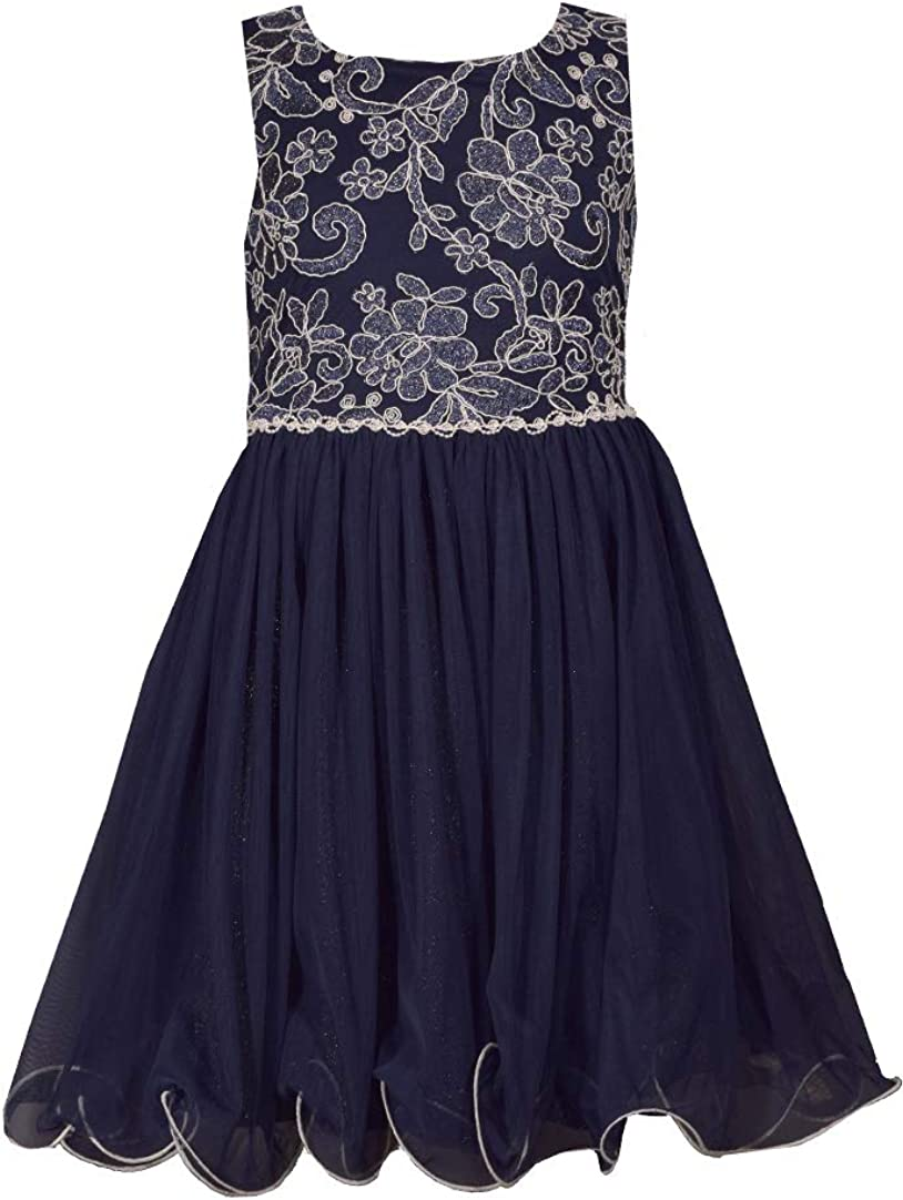 Bonnie Jean Big Girls 7-16 Navy Floral Embroidered Bodice to Mesh Pleated Skirt Party Dress