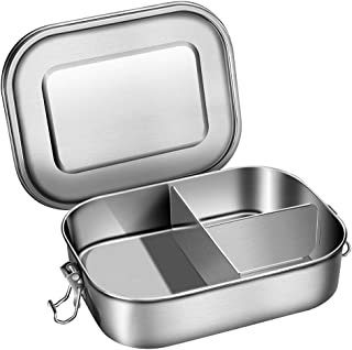 G.a HOMEFAVOR Stainless Steel Bento Lunch Box, 1400ml Bento Lunch Box with 3 Compartments and Removable Silicone Seal
