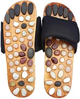 FAREVER Massage Slippers, Foot Massage Shoes for Women Men Home with Natural Stones Shiatsu Arch Pain Relief, Fit Men 10 Feet Size