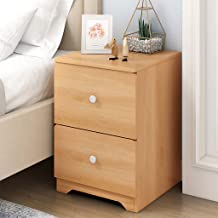 "$32 » shamoluotuo Wood Side End Table Nightstand with Drawer & Open Storage Shelf Small Desk & Makeup Table Corner Furniture for Living Room, Bedroom & Office (w/ Double Drawer, 11.8""x12.6""x17.7"")"