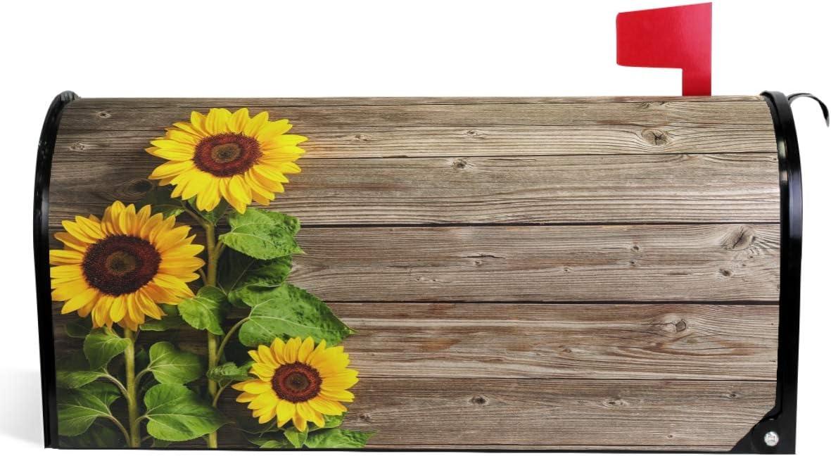 Max 83% OFF Wamika Beautiful Sunflowers Mailbox Max 49% OFF Cover Board Vintage Wood Mai