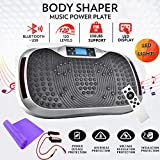 Reliancer Built-in Music Player Fitness Vibration Platform Whole Full Body Shaped Crazy Fit Plate Massage Workout Trainer Exercise Machine Plate w/Integrated USB Port&LED Light (W/Music-Silver)