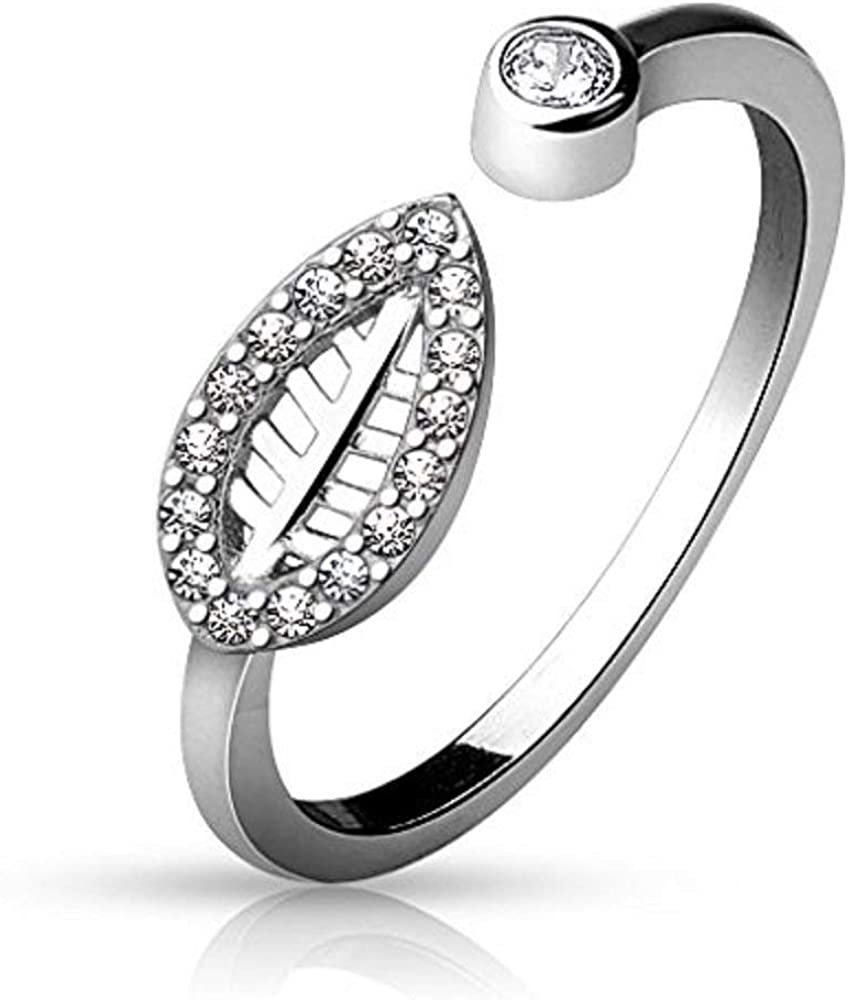 Covet Jewelry Adjustable Toe Ring with CZ Paved Leaf