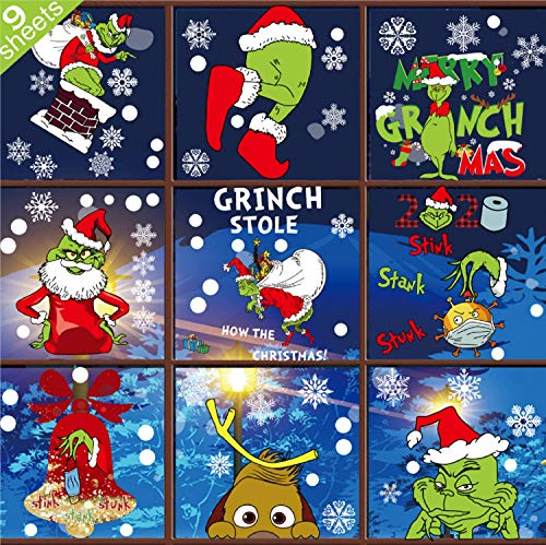 Grinch Window Clings Christmas Decals - 9 Sheet Grinch Window Decorations Double-Side Grinch Snowflakes Sticker for Office Home School Christmas Party Supplies Winter Holiday Window Decorations