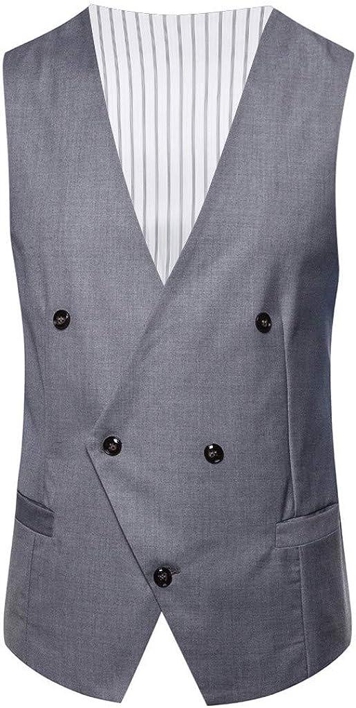 GREFER-Mens Waistcoat Slim Fit Plus Size Business 5 Button Pockets Formal Suit Vest Regular Fit