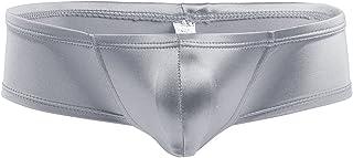dPois Men Lingerie Soft Micro Mini Pouch Bikini Briefs Panties Thong Underwear Low Rise Cheeky Boxer Briefs