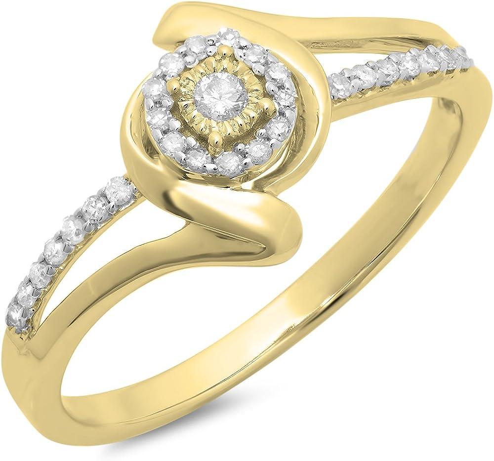 Dazzlingrock Collection 0.15 Carat (ctw) 10K Gold Round Diamond Ladies Twisted Split Shank Promise Ring