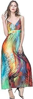 YYLZA Floral Print Women Maxi Dress Summer Deep V Neck Sleeveless Dress Female Dresses