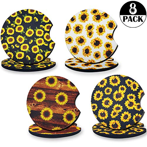 OuMuaMua 8 Pieces Sunflower Car Coaster Pack $8.49 (47% Off)