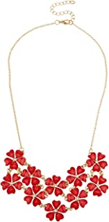 Shimmer Flower Collar Floral Bib Statement Necklace